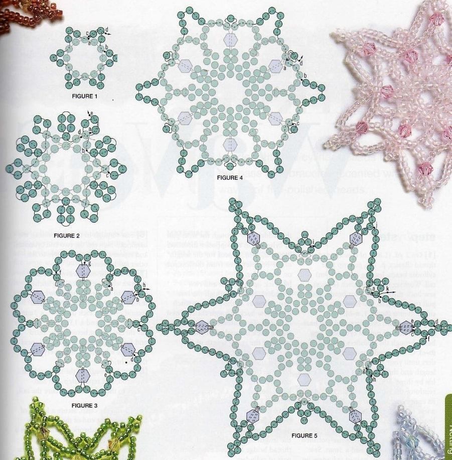 плетение разноцветных снежинок из бисера. схема плетения снежинок из бисера.