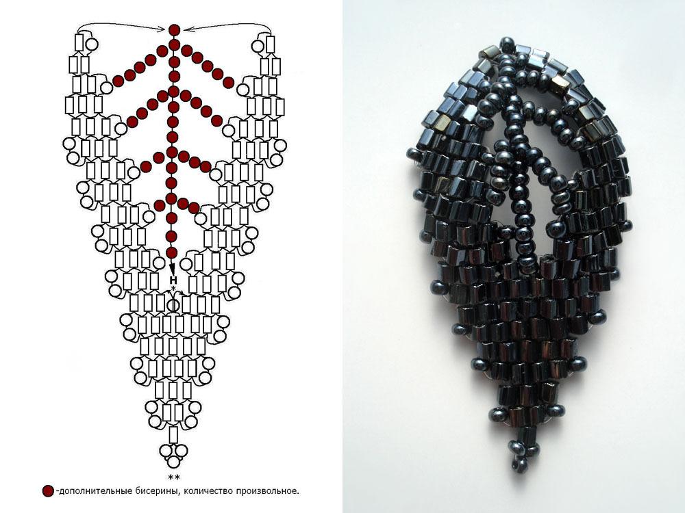 Круговая французская техника плетения бисером. схема плетения бисером в круговой технике. .